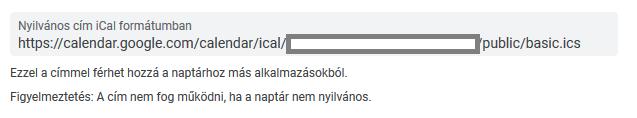 Nyilvános cím iCal formátumban